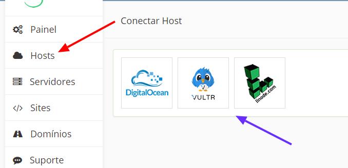 escolha a host para conectar o agiuscloud ao servidor